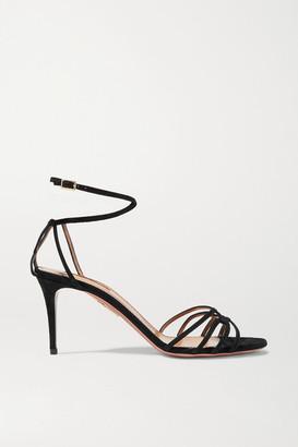 Aquazzura Very First Kiss 75 Suede Sandals - Black