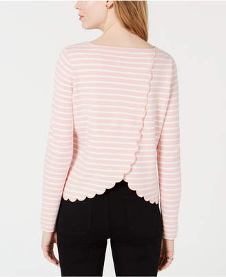 Maison Jules Striped Scalloped Crossover Top