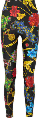 Versace Printed Stretch-jersey Leggings - Black