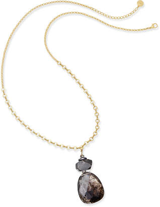 Paul & Pitu Naturally Gold-Tone Quartz & Rhinestone Pendant Necklace