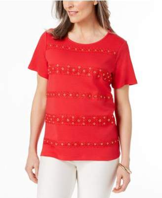 Alfred Dunner Barcelona Lace-Detail Top