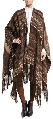Ralph Lauren Collection Carlotta Suede-Fringe Linen Blanket Cape, Brown $2,490 thestylecure.com
