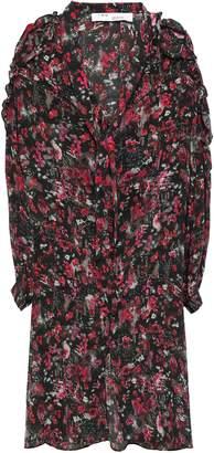 IRO Cutout Printed Silk-crepe Dress