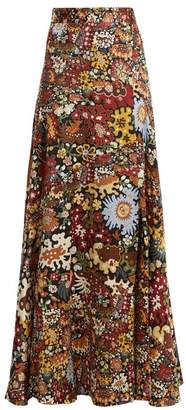 Peter Pilotto Floral Print Silk Maxi Skirt - Womens - Burgundy Multi