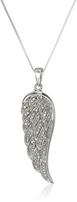 10K White Gold Diamond Angel Wing Pendant Necklace (1/5 cttw)