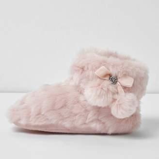 River Island Girls pink fluffy pom pom bootie slippers