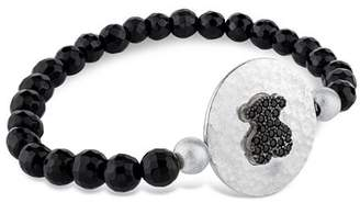 Tous Sterling Silver Bear Plaque Beaded Bracelet