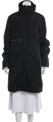 Post Card Knee-Length Hooded Coat Black Knee-Length Hooded Coat