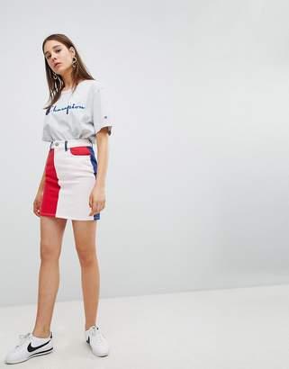 Asos DESIGN denim original skirt in color block