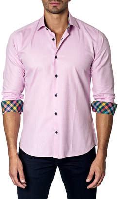 Unsimply Stitched Textured Sport Shirt, Pink