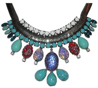 Dannijo Silver Tone Oxidized Poured Glass Rhinestone Bib Necklace