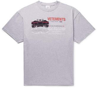 Vetements Oversized Printed Mélange Cotton-Jersey T-Shirt