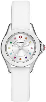Michele 27mm Cape Mini Topaz Watch w/ Silicone Strap, White