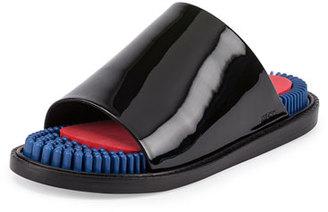 Kenzo Massage Patent Slide Sandal, Noir $400 thestylecure.com