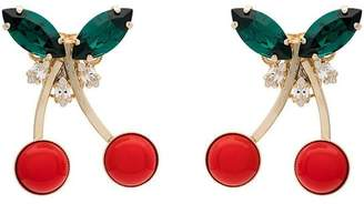Anton Heunis metallic gold, red and green cherry crystal earrings