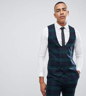 Twisted Tailor Super Skinny Vest In Green Check
