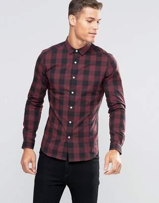 Asos Design Skinny Buffalo Check Shirt In Burgundy