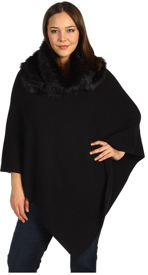 MICHAEL Michael Kors Plus Size Rib Poncho w/ Faux Fur Collar (Black) - Apparel