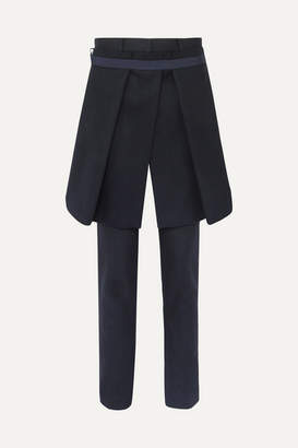 Sacai Melton Convertible Wool-blend Slim-leg Pants - Navy