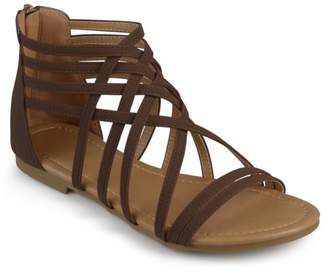 Brinley Co. Womens Wide Width Strappy Gladiator Flat Sandals