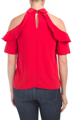 Juniors High Neck Top With Ruffle Details