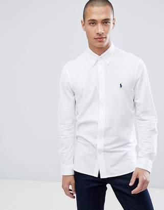 Polo Ralph Lauren slim fit pique shirt player logo button-down in white