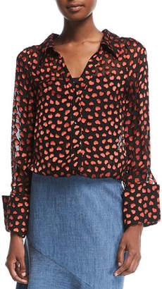 Alice + Olivia Emmerson Heart-Burnout Velvet Shirt