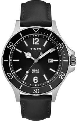 Timex Men's Harborside Black Watch, Leather Strap
