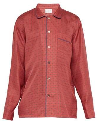 All At Sea - Anchor Print Silk Pyjama Shirt - Mens - Red