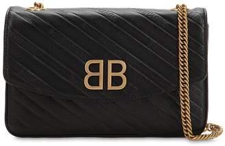 Balenciaga Bb Logo Embossed Leather Shoulder Bag