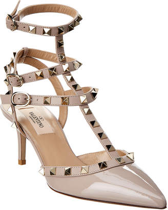 Valentino Rockstud Patent Ankle Strap Pump