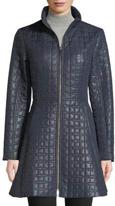 Kate Spade Bow Quilted Fit & Flare Puffer Coat