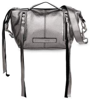 McQ Metallic Cracked-Leather Shoulder Bag