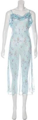Halston Floral Print Maxi Dress
