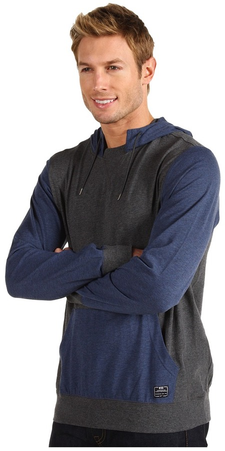 Nike Action - Southrup Colorblock Pullover Hoodie (Monsoon Blue Heather/Charcoal Heather/Black Heather) - Apparel