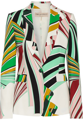 Emilio Pucci - Printed Stretch-twill Blazer - Green $2,420 thestylecure.com