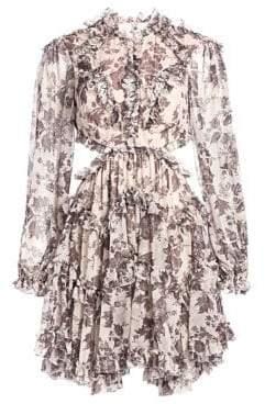 Zimmermann Juno Aged Batik Cutout Silk Dress