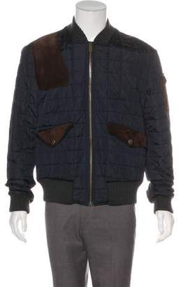 Gucci Quilted Suede-Trimmed Bomber Jacket