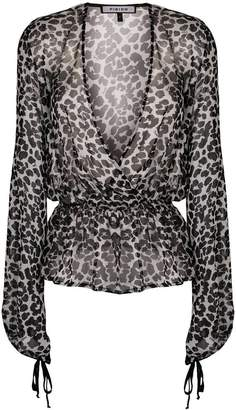Fisico sheer leopard blouse