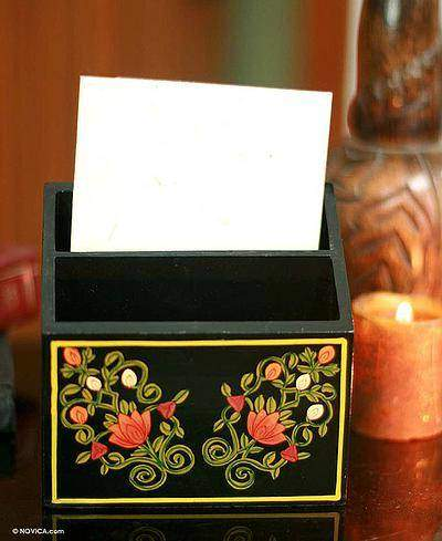 Bouquet Wood Letter Box Desk Organizer Hand Painted from India