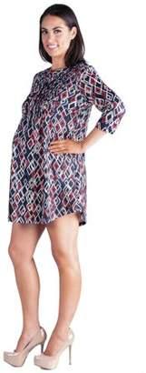 24/7 Comfort Apparel 24seven Comfort Apparel Split Neckline Pleated Babydoll Maternity Tunic Dress
