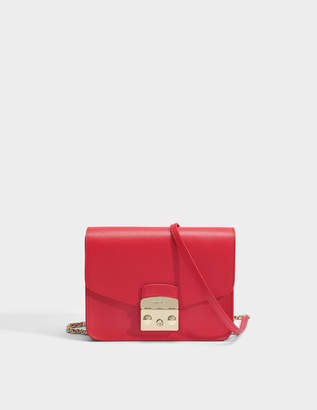 Furla Metropolis Small Crossbody Bag in Ruby Ares Leather