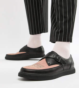 Asos DESIGN monk creeper shoes in black faux leather with pink contrast panel