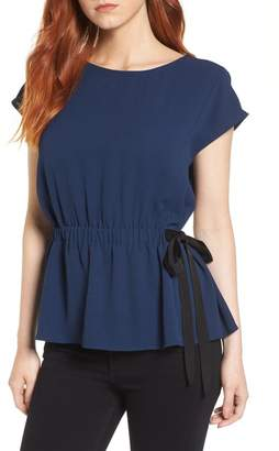 Pleione Gathered Waist Side Tie Top (Regular & Petite)