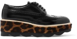 Prada Glossed-leather And Leopard-print Calf Hair Platform Brogues - Black