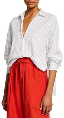 Vince Bar-Stripe V-Neck Long-Sleeve Swing Front Blouse