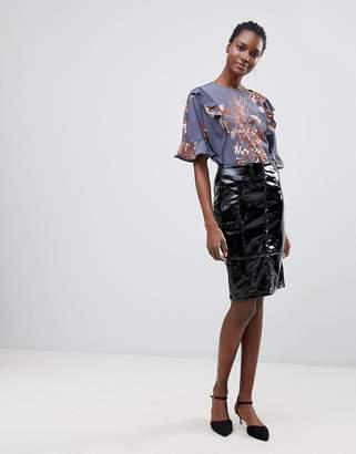 Vila Patent Midi Skirt