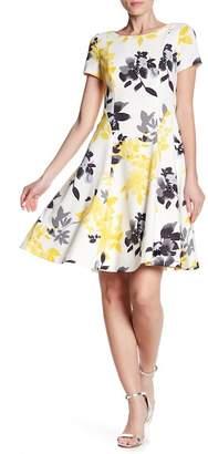 Eliza J Seamed Floral Fit & Flare Dress
