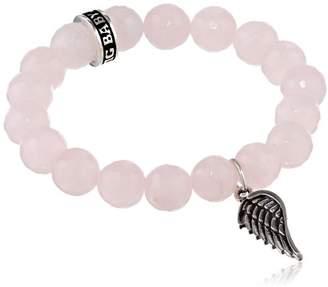 King Baby Studio Rose Quartz with Silver Ring Bracelet