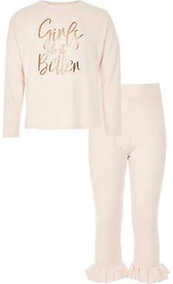 River Island Girls Pink 'girls do It better' pyjama set